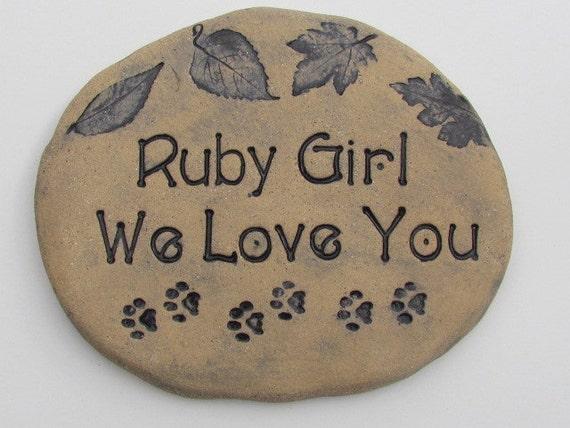 Custom Pet Memorial garden stone. Personalized engraved name. Custom text, saying. Choice of original nature designs.