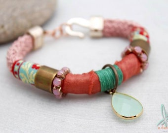 Bohemian girl - beautiful unique embellished bohemian bracelet in pink and green with ribbon, crystal and copper