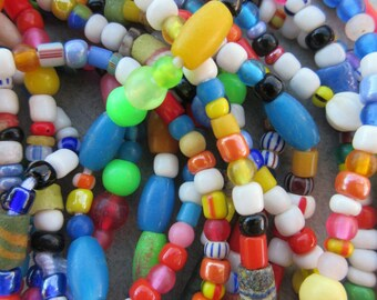 African Glass Beads -6 Strands
