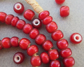 Red 'White Heart' Beads