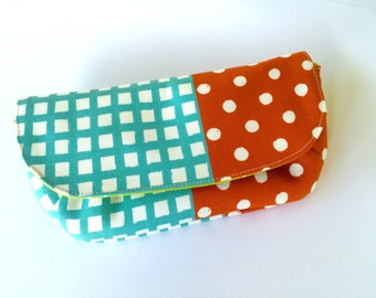 Sunglasses case. Spectacles case, Sunnies pouch. Handmade. Japanese Fabric. Checks + Dots. Gingham + Polka.