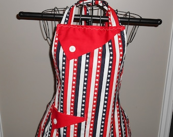 Stars and Red, White and Blue Stripes Women's Apron