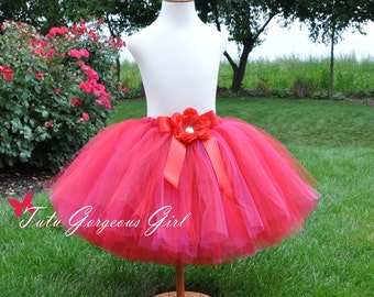 Adult Women's Bright Red Tutu...Teen Red Tutus, Red Holiday Tutu, Red Christmas Tutu, Red Flower Girl Tutu...AMERICAN BEAUTY