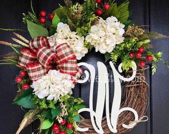 NEW!! Christmas Wreaths for Front Door, Front Door Wreaths, Christmas Door Wreaths, Hydrange Wreath, Grapevine Wreath, Wreaths for Door