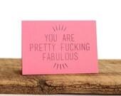 Paper Cut Card // Laser Cut Paper // You Are Fucking Fabulous!