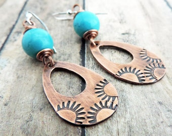 Copper Turquoise Earrings - Southwestern Jewelry - Boho Jewelry - Gypsy Style Stamped Jewelry