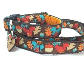 Scrufts' Tufty Squirrel Handmade Dog Collar and Lead