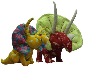 Soft toy dinosaur sewing pattern.  Fabric triceratops.