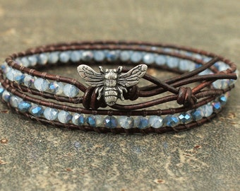 Delicate Bee Bracelet Blue Crystal and Leather Bee Jewelry