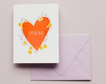 Letterpress Card - Friend Heart