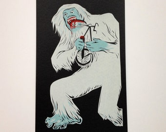 Yeti Devours His Bicycle Screen Print