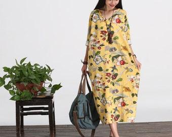 Casual Loose Fitting Long Sleeved Cotton Long Dress Blouse- Women Maxi dress