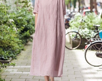 Loose Fitting Long Maxi Dress -  Short Sleeved Women Linen Dress for Women- women clothing