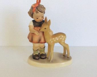 Vintage Goebel West Germany Hummel Figurine Young Girl with Fawn TMK-4
