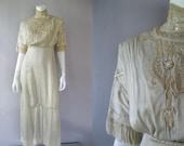 Edwardian Ecru Silk Dress - 1900s Antique Gown - Pearls Lace Fringe - XS