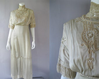 Edwardian Ecru Silk Dress - 1900s Antique Gown - Pearls Lace Fringe - XS