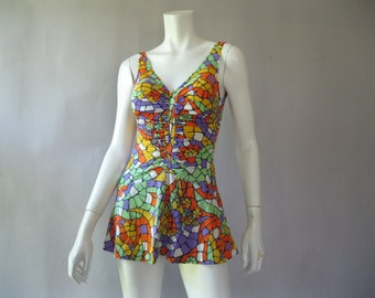Womens 60s Vintage Psychedelic Swimsuit - One Piece Skirted Bathing Suit