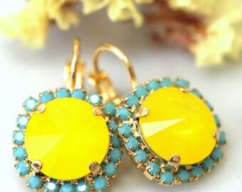 Buttercup Earrings,Swarovski Yellow Earrings,Neon Yellow Swarovski Earnings,Bridal Drop Buttercup Earrings,Bridesmaids Earrings