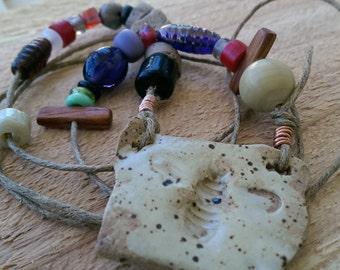Long Pullover Handmade Ceramic Bee Pendant Necklace