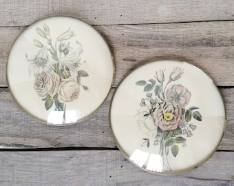 SHOP SALE! Vintage Floral Wall Hangings / Peter Watson's Studios / Set of 2 / Convex Glass / Bubble Glass / Victorian Style