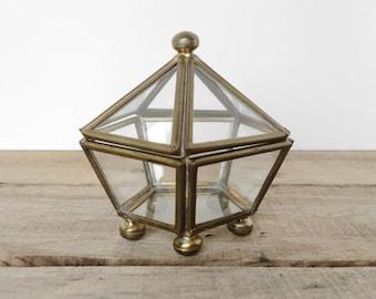 SHOP SALE! Vintage Brass and Glass Trinket Box / Display Box / Star / Pentagonal / Brass Plated / Terrarium / Footed Box
