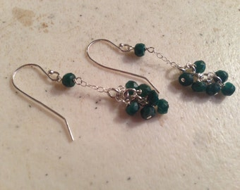 Green Earrings - Emerald Jewelry - May Birthstone - Sterling Silver Jewellery - Gemstone - Chic - Luxe - Chain