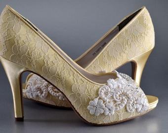 Lace Wedding Shoes - Women's Wedding Shoes, Yellow Bridal Shoes, Custom Colors - Vintage Wedding Lace Peep Toe Heels, Women's Bridal Shoes