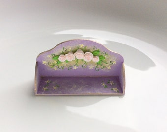 Dollhouse shelf in lilac with a pretty pale pink rose design to fit 1:12 scale miniature dollhouse