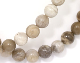 CLEARANCE. Silver Leaf Jasper (Gray Banded) Beads - 6mm Round - Full Strand