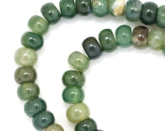 Green Moss Agate Beads - 6mm Rondelle