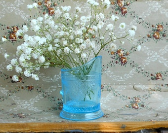 Antique Pressed Glass Creamer Aqua Blue Small Vase EAPG Coal Hod Scuttle Bucket Shape Victorian Candleholder Shabby Cottage Home Decor