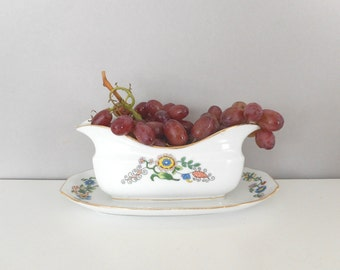 Vintage Porcelain Sauce Boat Serving Bowl Epiag Czechoslovakia Art Deco Floral Repurpose Home Decor Accent Fruit Dish Planter Shallow Vase