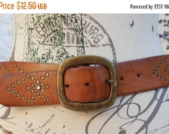 fall sale 2016 Vintage Express Belt~Studded~Colored Rhinestone Accent~Thick Leather~Size Small