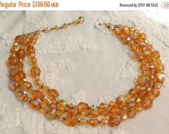 DISCOUNTED Vintage Hattie CARNEGIE Golden Amber Aurora Borealis Crystal Necklace  Signed Designer