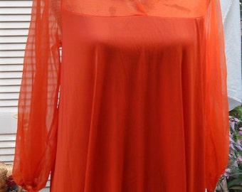 DISCOUNTED Authentic Vintage 60s ~~CHRISTIAN DIOR ~~Miss Dior ~~Designer Lingerie Nightgown~~Small to Meduim/Large~Long~Sheer Top