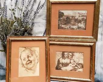 LABOR DAY SALE Vintage Sepia~3 Picture Set~Famous Art~A windsor Product~ Framed Matted Pictures