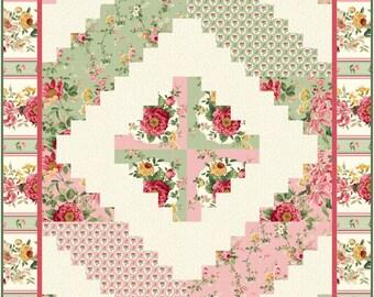 Log Cabin Quilt Pattern, 2418-8, Floral log cabin quilt, Christmas log cabin quilt, floral lap quilt, christmas lap quilt