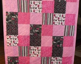 pink puppies baby quilt