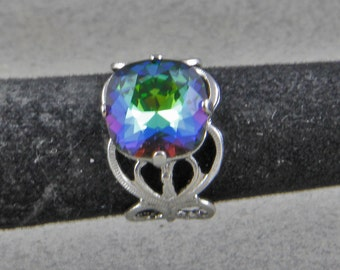 Blue Green Crystal 12mm Adjustable Ring Rhodium Plated Brass Filigree with Swa Glass  Crystal Stone