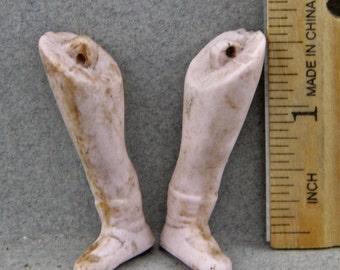 Vintage Antique German Ceramic Doll Leg Pair 1.75 Inch