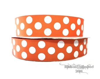 10 yds WHOLESALE 1.5 Inch  Orange Jumbo Polka Dots grosgrain ribbon LOW SHIPPING Cost