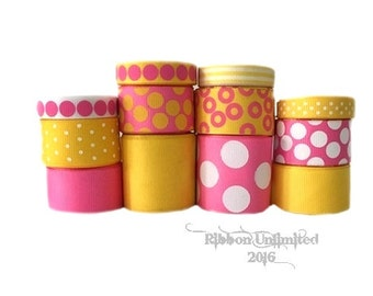 24 Yds PINK LEMONADE  wholesale grosgrain ribbon collection   Low Shipping Cost