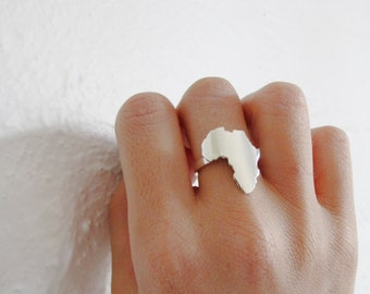 Africa ring outline Africa ring Africa jewelry Africa jewellery African jewelry
