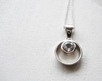 eternity gemstone necklace infinity necklace white topaz necklace sterling silver necklace eternity pendant anniversay gift bridesmaids gift