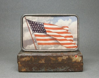 Belt Buckle American Flag Old Glory Patriotic Stars and Stripes Gift for Men or Women