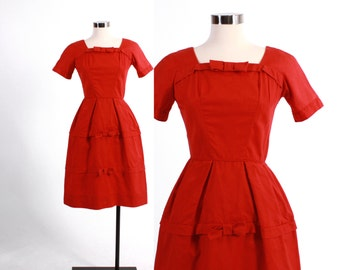 Vintage 60s DRESS / Vintage Early 1960s RED Cotton Cocktail Party Dress XS
