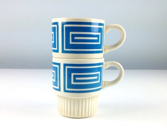Vintage Mid Century Modern Design Stackable Coffee Mugs