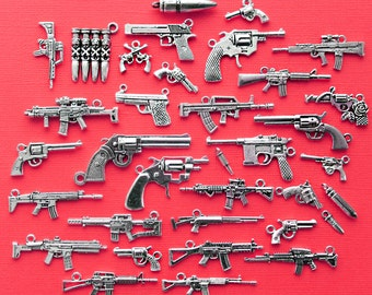 Deluxe Gun Charm Collection Antique Silver Tone 35 Different Charms - COL331