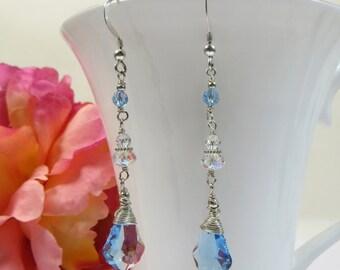 Swarovski Crystal Earrings, Blue Bliss Earrings, Sterling w/ Swarovski Earrings, Earrings in Aqua Blue Swarovski, Silver Wirewrap Earrings