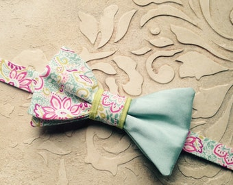 Floral Bow Tie / Aqua Chartreuse And Pink Bow Ties / Cotton Bow Ties / Custom Made Wedding Bow Ties / Country wedding / Bow Ties Men